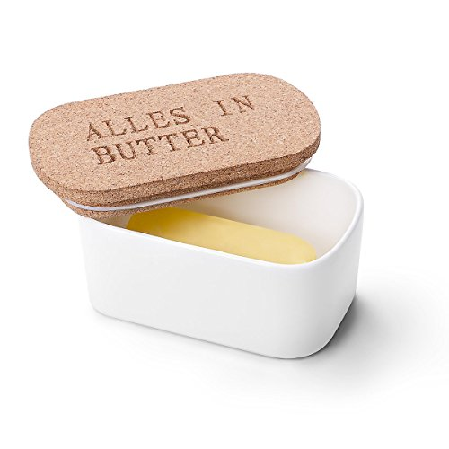 sweese butterdose aus porzellan mit deckel aus kork gross weiss - Sweese Butterdose aus Porzellan mit Deckel aus Kork, groß, Weiß