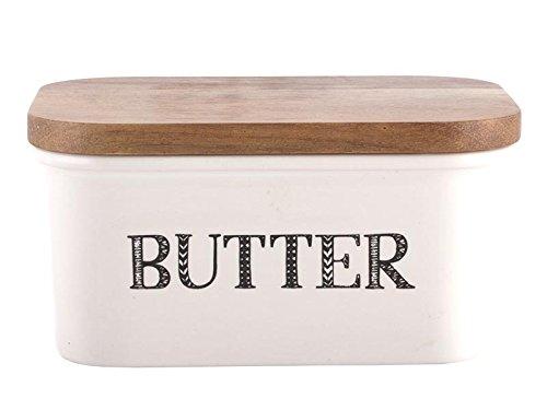 """41+i0dTmExL - Creative Tops """"Bake Stir It Up"""" Butterdose aus Steingut mit Deckel aus Akazienholz, groß, Weiß"""